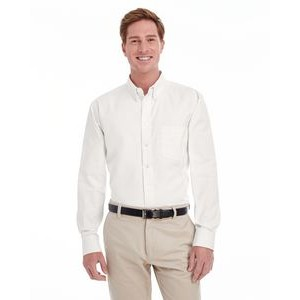 Harriton Men's Foundation 100% Cotton Long-Sleeve Twill Shirt with Teflon?