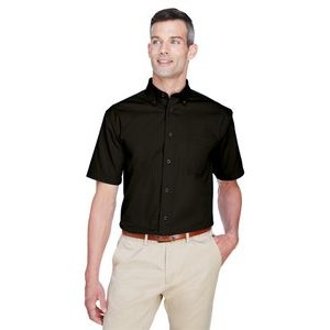 Harriton Men's Easy Blend? Short-Sleeve Twill Shirt with Stain-Release